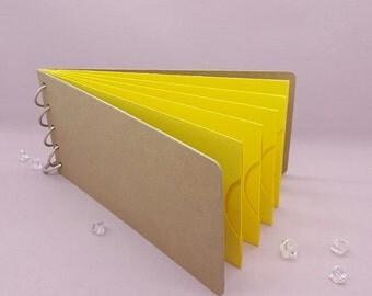 "Yellow Shades, Pocket Tag, Chipboard Album, Size 8-1/4"" x 4-1/4"", Scrapbooking, Memory Keeping, Photo Album, Kraft Covers"