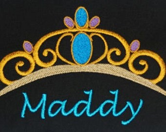 Disney's Aladdin inspired t-shirt w embroidered Jasmine Tiara and personalized w your name - original artwork - perfect for Disney fans