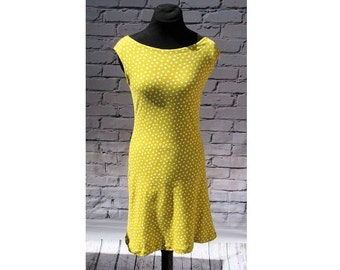 Boatneck Sundress, Summer Dress, Sleeveless Dress, Yellow Polka Dot Sundress, Yellow Sundress, Cotton Sundress, Organic Cotton Dress