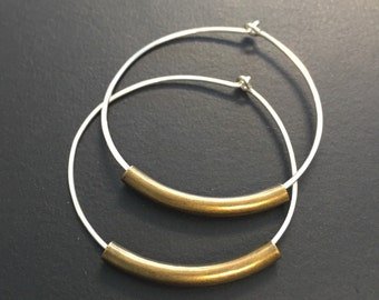 Sterling silver and brass hoop earrings