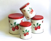 Set Of 4 Vintage Tin Canisters Cherries Country Cottage Kitchen Decor