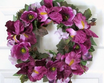 Purple Anemone and Iris Wreath, Lavender Sweet Peas, Grape Leaves, 14 inches, Spring, Summer, Fall, Cottage Chic