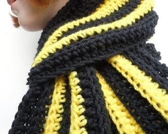 Sports Scarf - Bumble Bee Black and Yellow Scarf - Men, Women, Children - Crochet Scarf - SHOW