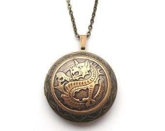 Dragon Locket Necklace, Bronze Dragon Necklace, Big Dragon, Big Locket, English, St George, Mythology