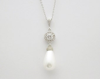 Pearl Wedding Necklace Bridal Jewelry Pearl Cubic Zirconia Teardrop Pearl Pendant Bridesmaid Gift Wedding Jewelry, Mila