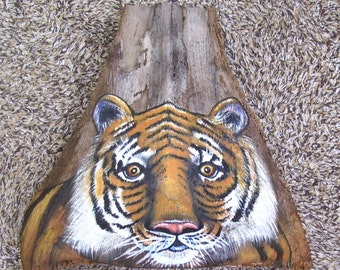 Tiger Tiki Mask on Palm Frond Branch