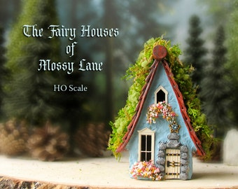 The Fairy Houses of Mossy Lane - Handcrafted Cottage in Robins Egg Blue w/ Moss Covered Shingled Roof, Blooming Flower Boxes and Wooden Door