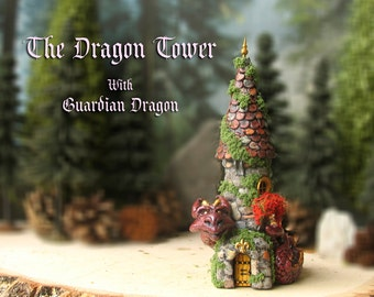 The Enchanted Dragon Tower  - Miniature Stone Woodland Tower with Purple Guardian Dragon, Flower box, Scallop Tiled Roof and Golden Finial