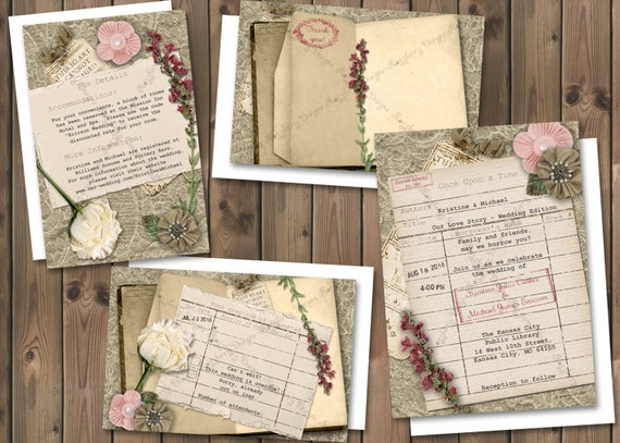 library card wedding invitation book theme wedding invite, Wedding invitations