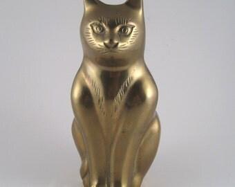 Brass cat - brass statue - brass figurine - brass cat doorstop - brass cat bookend - brass decor - cat collectible - cat lover gift