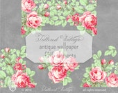 Vintage Wallpaper Roses Stationery Card Header PNG ClipArt: 9 Transparent background elements Instant Download