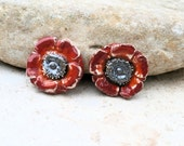 2 handmade cabs -  handmade clay ceramic piece  for jewel creations - hippie chic red flowers for rings