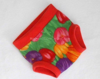 Extra Large Anti-Pill Fleece Soaker Tulip Diaper Underpants Cover, Red Green Yellow Purple Pink Red Flower, Ready to Ship Vegan XL Spring