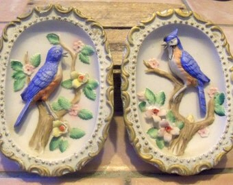 Vintage Chalkware Wall Plaques, Wall Decor, Blue Birds Blue Jays, Mid Century Home Decor