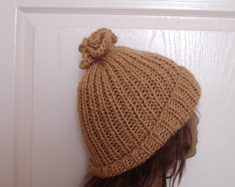 Hand Knit Hat Chunky Wool Hat Light Brown Knit  Mens Wool Hat, Hand Knitted Beanie