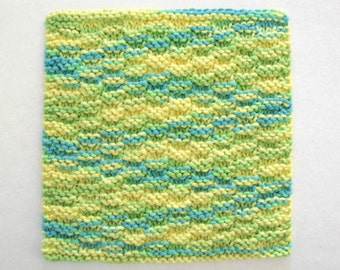 Knit Dishcloth Cotton Washcloth Cotton Knitted Dishcloth Yellow Blue Green Kitchen Decor