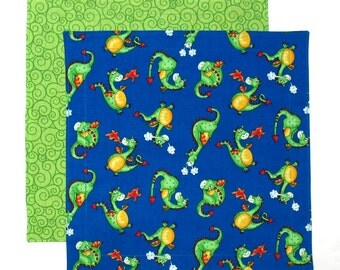 Kids Cloth Napkin, Lunchbox Napkin, Green Dragons, 1 double sided child table napkin