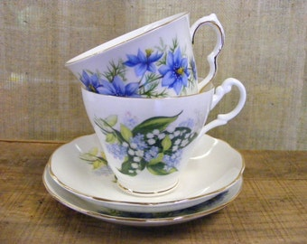 Tea For Two - Vintage English Bone China Porcelain Blue Floral Roses Tea Cups and Saucers