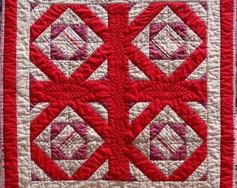 Hues of Reds and Browns 32 inch Quilt