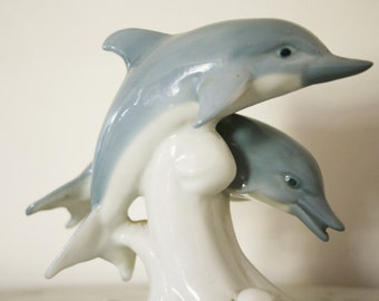 Vintage Otagiri Japan Figurine of a Pair of Wave Jumping Dolphins