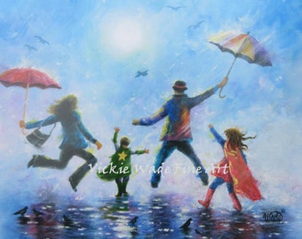 Super Hero Girl and Boy Art Print, family, singing in the rain, mom dad boy and girl, big sister, little brother, Vickie Wade Art