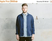 SALE . Vintage WORK Jacket . Mens Blue FRENCH Chore Jacket 1980s Outerwear Industrial Heritage Utility Style Boyfriend Gift . Medium Large X