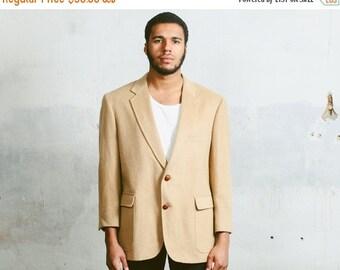SALE . Vintage CAMELHAIR Blazer . 80s Blazer Preppy Jacket Ivy League Style Equestrian Indie Urban Smart Casual Sport Coat Retro . Large XL