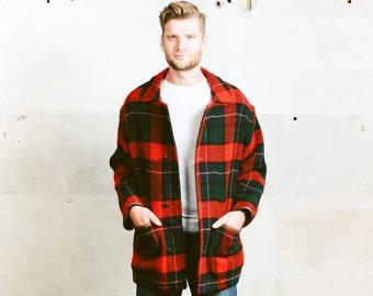 Men Winter Coat . Vintage Jacket Red Green Tartan Plaid Wool PRINGLE Coat Lumberjack Jacket Oversized 1980s . size Small Medium Large