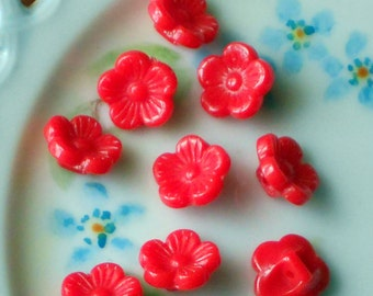 """Vintage Lucite Buttons Flower Rose Button Pressed Beads NOS 3/8"""" 10mm Cherry Red Carved Japan. #1610"""