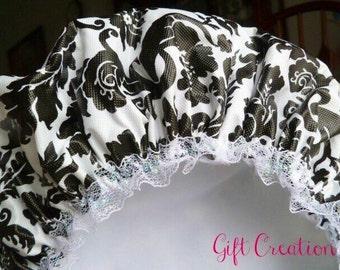 Waterproof Shower Cap Black White Damask Flowers Soft Vinyl Cap Handmade with Nylon Fabric Liner