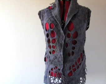 Felted vest, Wool lace  vest,  Purple violet vest one of a kind vest , Lace women vest , women wool vest lace scarf , women felted vest
