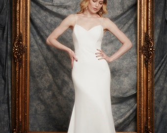 Evan Gown, Deep Sweetheart Bodice, Low back, fit and flare/mermaid Wedding Gown