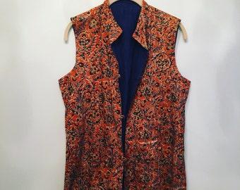 70s Vintage Orange Cotton Vest • Indian Color Block Vest • 1970s Vest Vintage Top • Free Size