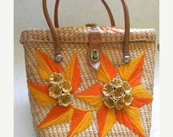 ON SALE vintage. 60s Natural Woven Tote  // Retro Glam 60s