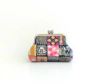 Coin Purse -Frame Mini Pouch Mini Jewelry Case with Ring Pillow - Animal Square