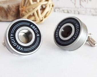 4 pairs of black Skater Cufflinks, plus 1 pair of ball bearing cufflinks, geeky wedding, grooms accessories, groomsmen gift