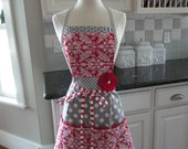 """Red Swirl and Gray Dot-  """"Barbie Style Pockets & More""""  Women's Apron - 4RetroSisters"""