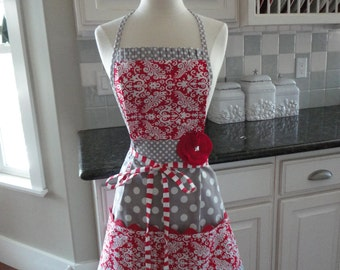 "Be Mine Valentine - Cute for Year Round-  ""Barbie Style Pockets & More""  Women's Apron - 4RetroSisters"