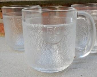 4 Iittala Krouvi Beer Mugs Set 1970s Midcentury Bar Ware Frosty Pebbled Texture Oiva Toikka Finland