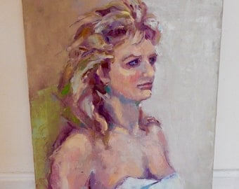 1980s Portrait Art Original Oil Painting Artist's Model Female Portraiture Signed Marty Lancaster Beautiful Palette & Brushwork