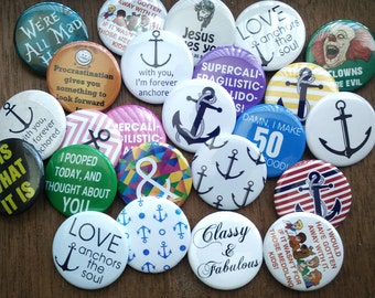 20 Locker Decoration, Pins for Jackets, Fridge Magnet Set, Birthday Party Favor, Small Office Gag Gift, Holiday Accessory, Cheap Gift Ideas