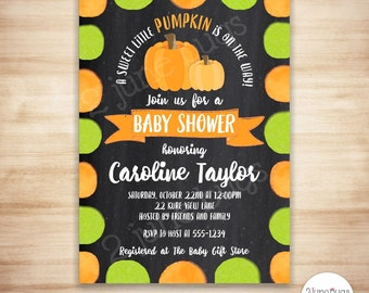 Baby Shower Pumpkin Invitation - Printable Pumpkin Baby Shower Invitation - Neutral Fall Baby Shower Invites - PERSONALIZED & PRINTABLE