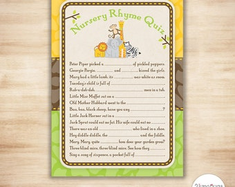 Nursery Rhyme Quiz Baby Shower Game - Safari Animals Nursery Rhyme Quiz, Safari Jungle Baby Shower Game - DIGiTAL PRINTABLE INSTANT DOWNLOAD