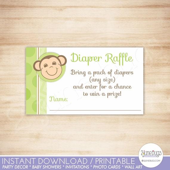 Monkey Baby Shower Diaper Raffle Tickets