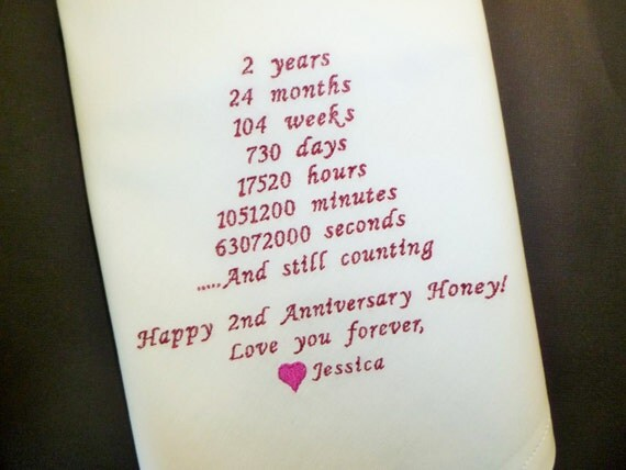 Second Wedding Anniversary Gift Ideas For Husband: Anniversary Husband Handkerchief 2nd Anniversary Gift Cotton