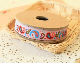 Colorful Paisley cartoon jacquard woven ribbon trim