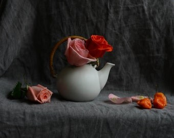 Still Life with White Teapot and Roses