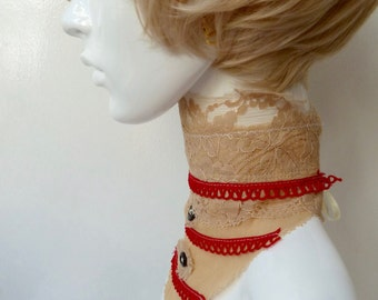 Original Boho, Steampunk Deconstructed, Antique Lace Neckie, Dickie, Choker, Rustic, Victorian Style, OOAK, Upcycled, Designer Neckwear