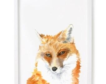 Fox Watercolor Print, Fox Watercolor Art, Fox Wall Decor
