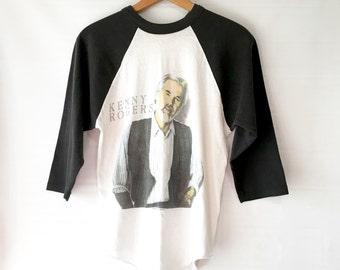 SALE Vintage Kenny Rogers  baseball tshirt, 80s Concert Shirt, World Tour Size Medium
